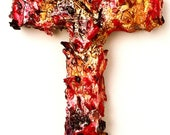 wood and plaster cross, painted wall sculpture, centerpiece, berry, violet, burgundy, amber