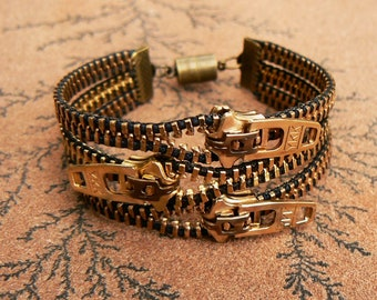 Uno Dos Tres Zipper Bracelet - Brass Cuff - Steampunk Jewelry - Zipper Jewelry
