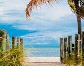 Sea And Sky II - 8x12 Key West Florida beach ocean sea palm tree photography print travel blue sky island beachy home nursery decor wall art