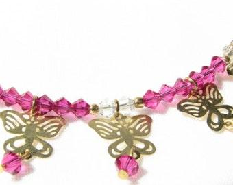 Fuscia Fun Swarovski Crystal and Brass Butterfly Filagree Necklace