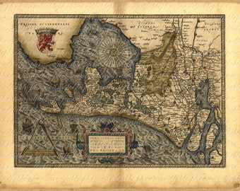 Map Of Holland From 1500s  Amsterdam Rotterdam Hague Haarlem Ancient Dutch Cartography Exploring Vintage Digital Image Download 098
