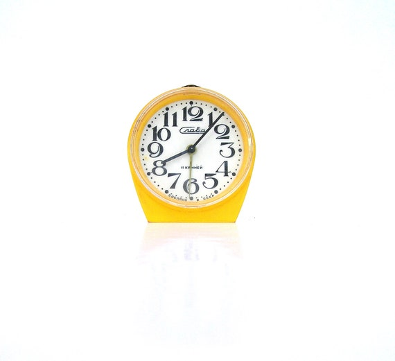 Yellow vintage alarm clock Slava retro home decor russian ussr