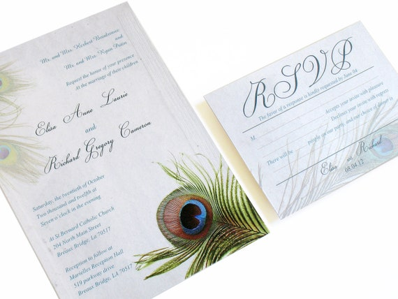 Peacock Feather Wedding Invitation: Peacock Wedding Invitation Set Peacock Feather Invitation