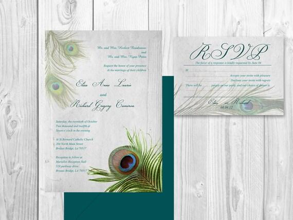 Peacock Wedding Invitations Template: PEACOCK WEDDING INVITATION Printable By DesignedWithAmore