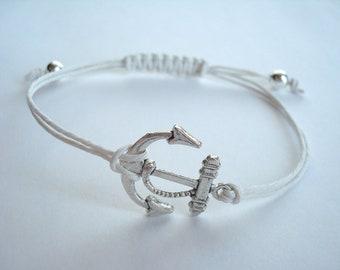 Nautical Anchor Charm Hemp Bracelet