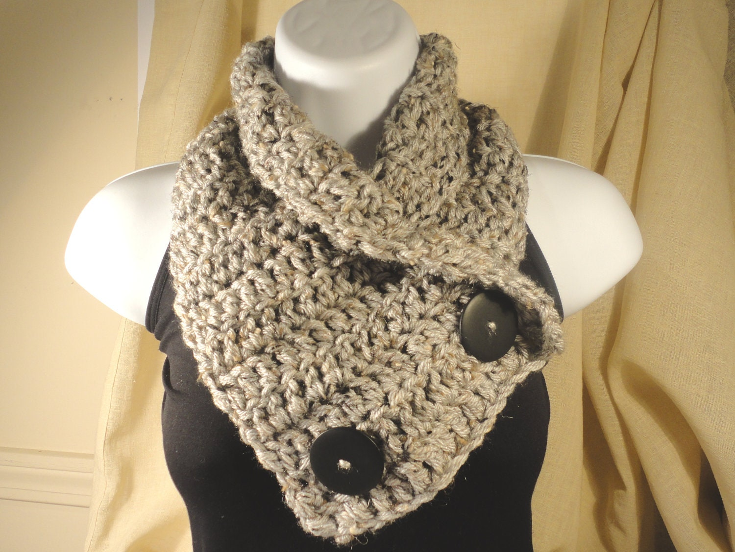 Crochet Pattern For Cowl Scarf : Crochet Scarf Cowl Neck Warmer with Buttons Gray Grey with