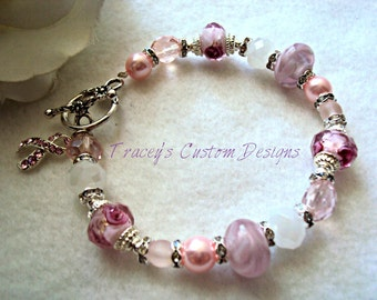 Beautiful LAMPWORK Beaded Breast Cancer Awareness Bracelet - Custom sizing available.