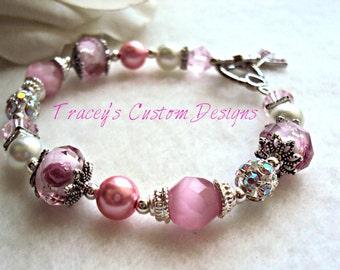 Beautiful Lampwork Breast Cancer Awareness Bracelet - CUSTOM MADE JEWELRY