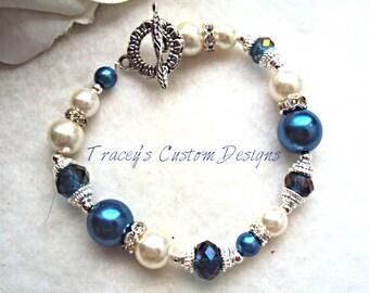 "It's the""Bride's Blue"" - Something blue bridal bracelet"