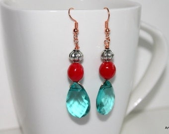 Aqua and red  briolette earrings