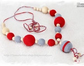 Eco Friendly Nursing necklace for mom - breastfeeding necklace - sling accessory. Grey and Red