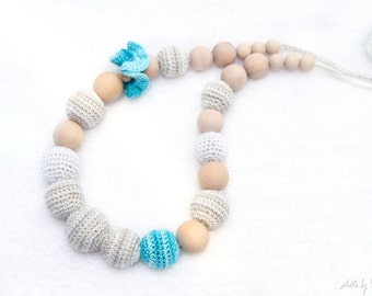 Wooden teething necklace - Breastfeeding / Nursing necklace - crochet sling necklace