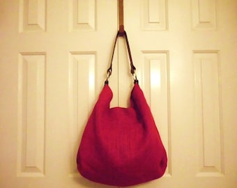 Vibrant Red Burlap Hobo Bag w/ Leather Strap