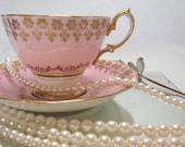 Teacup Saucer ROYAL ALBERT Mid Century Bone China Rose Pink Filigree