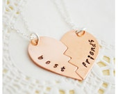 Best Friend Necklaces - BFF Split Heart Necklaces - Copper & Sterling Silver - Handstamped Necklace - Personalized Jewelry