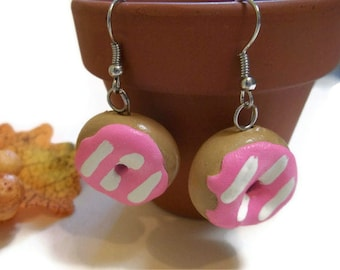 Pink Doughnut Earrings, Donut Earrings, Doughnut jewelry, polymer clay charms, doughnut accessories, Food Jewelry, New years accessories