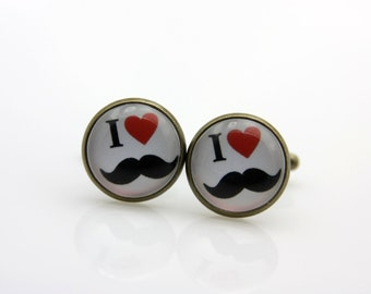 Cufflinks I love mustaches (1616)