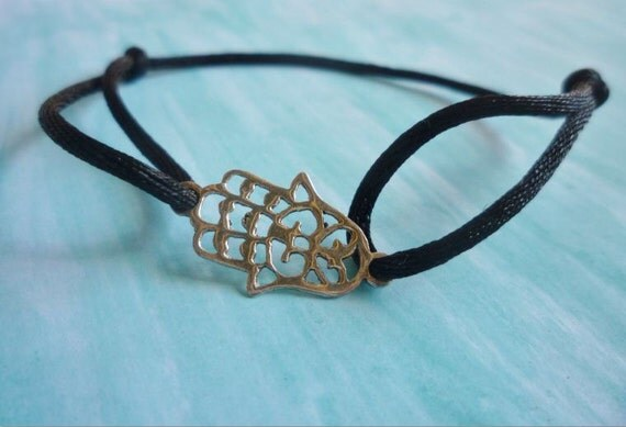 Moroccan silver cut-out hamsa cord bracelet (only black available)