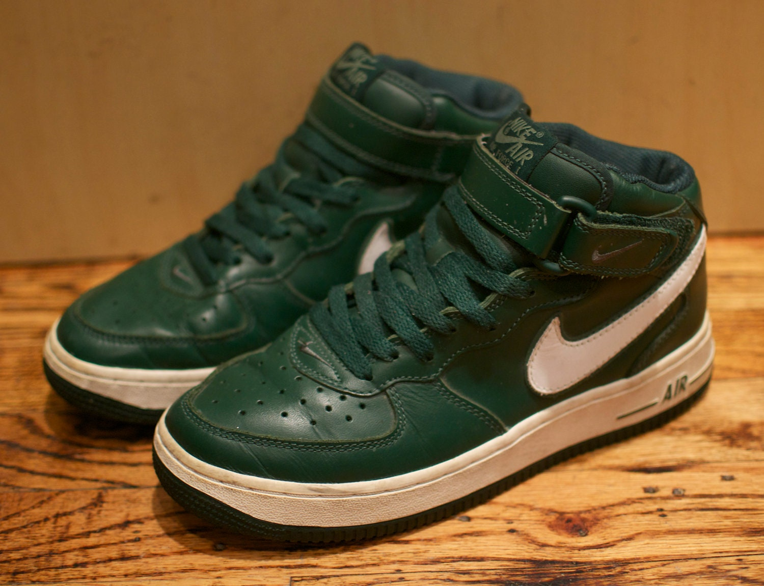 army green high top air force ones