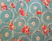 Vintage 40's Floral Wreath and Flowers Aqua and Rose Fabric