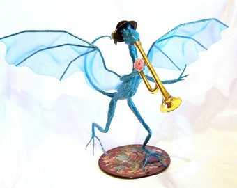 Turquoise Dragon Playing a Trumpet, Dragon Musician: Miles, Fantasy Art Doll