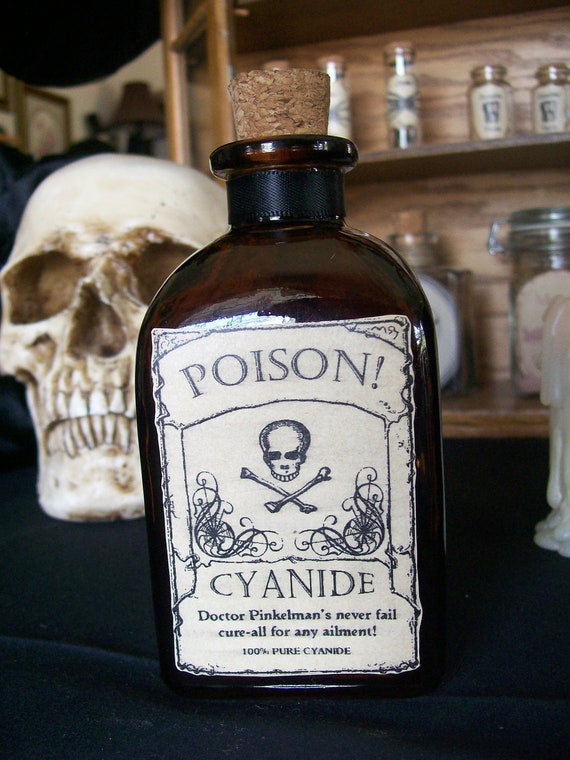 OOAK Poison Cyanide Halloween Bottle/Decorative Bottle
