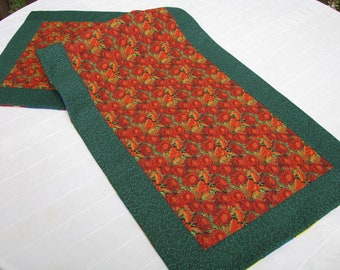Sale Fall Mums and Christmas Plaid Quilted Reversible Tablerunner Table Topper