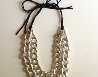 Shiny Silver Metal Chain Necklace