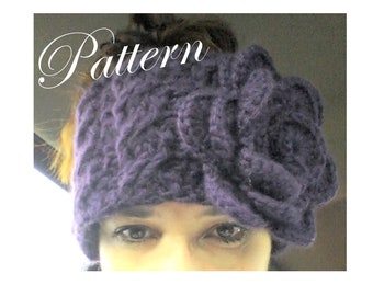 Cables and Roses Crochet PDF Pattern Earwarmer, Headband, Headwrap
