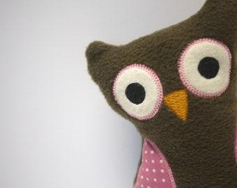 Stuffed Fleece Owl - Handmade Baby Toy - Brown with Pink Polka Dot - Owl Stuffie - Owl Plush