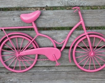 NEW ITEM  Vintage Look Bicycle / Bicycle Wall Art / Wall Decoration / Bicycle in Pink