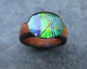Rare Ammolite Gemstone With Triple Band Wood Ring - Pick A Band - Pick A Size - Wooden Ring - Gemstone Ring - Ammolite Ring