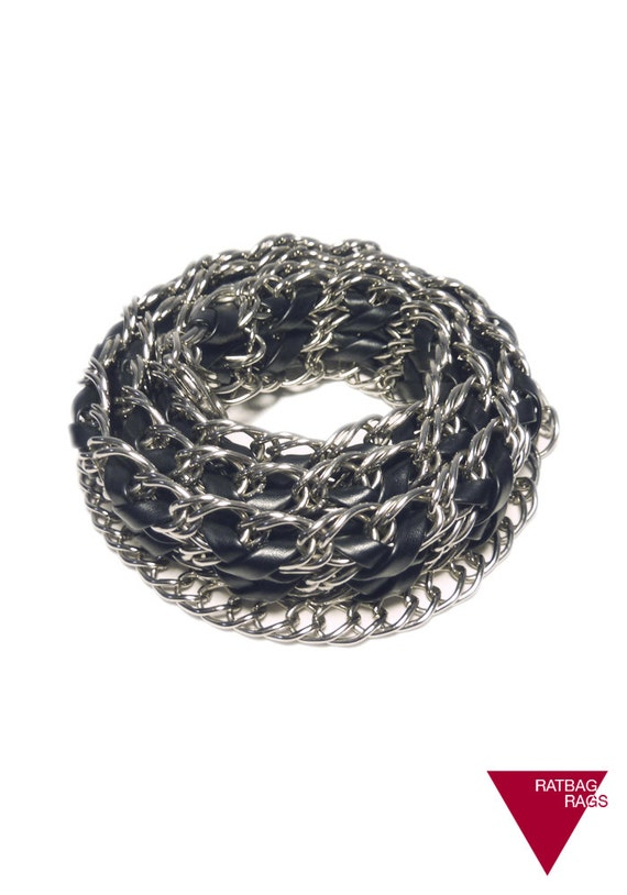 Vintage 90s Glam Silver Metal Chain Link Sash Belt Braided with Black Leather Look Vinyl. Adjustable Length.