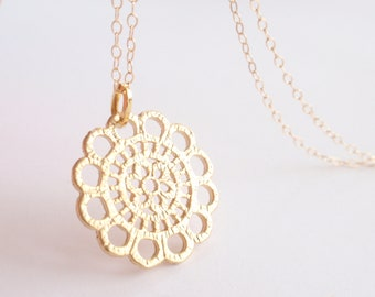 Elegance Lace Coin 14K gold filled necklace-simple everyday jewelry