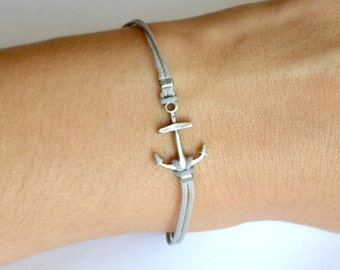Anchor Bracelet, cord bracelet with silver plated anchor charm, gray string, dainty bracelet, Birthday gift, minimalist nautical jewelry