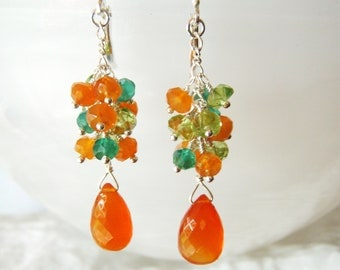 Carnelian earrings with peridot & green onyx, gold jewellery, gemstone jewellery OOAK