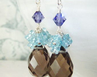 Smokey quartz earrings with ocean blue apatite, sterling silver jewelry