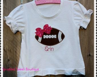 Custom Applique Girls Football Bow Shirt Any Team Color