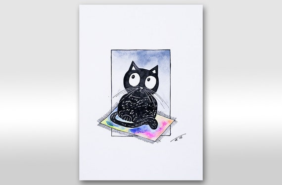 Black cat painting. Original ink watercolor painting. Cat illustration. Cute kitty. For kid, for children room, for nursery A4 painting 12x8