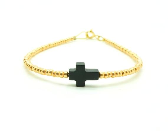 Beaded Sideways Cross Bracelet Sideways Cross Beaded Bracelet