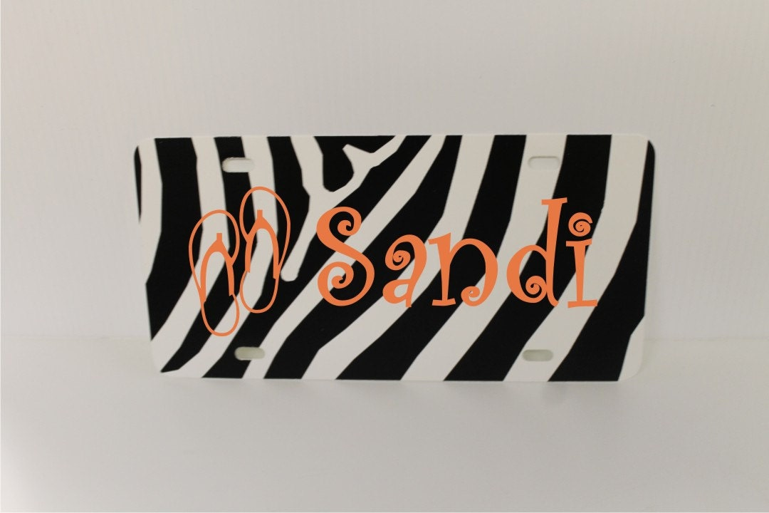 Zebra striped license plate