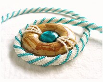 Statement Rope Necklace, Spiral Bead Rope, Seed Bead Crochet Necklace, Wood Donut Pendant, Bead Art Jewellery - Etsy Germany