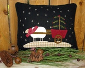 Winter Wool Applique Pillow Pattern, Joy Sleigh and Christmas Sheep Cart #110