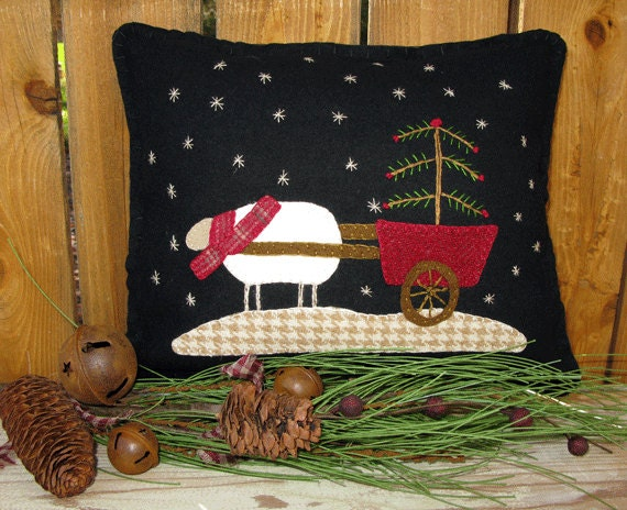 Winter wool applique pillow pattern joy sleigh and christmas