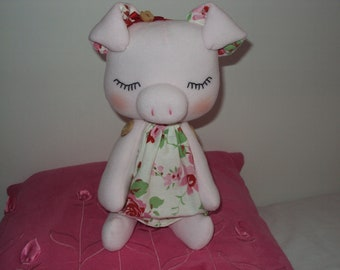Sleeping Baby Piglet with Cath Kidston Rosali fabric dress. Can be personalised