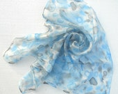 Hand painted silk scarf Ocean sky blue and grey pebbles