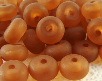 Vintage Frosted Rootbeer Brown Lucite Saucer Rondelle Doughnut Beads 10mm - 10