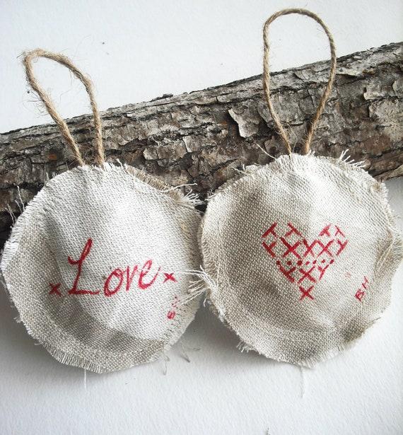 Decorazioni di Natale: amore (set di 2) Shabby chic, rustico di natale, robusti, decorazioni per l'albero di Natale, ornamenti