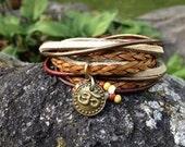 Boho Leather Wrap Bracelet, Yoga Inspired 3X Leather Wrap Bracelet, Warm Earth Tones, Deep Red,  Bronze and Beige, Brass Om Charm