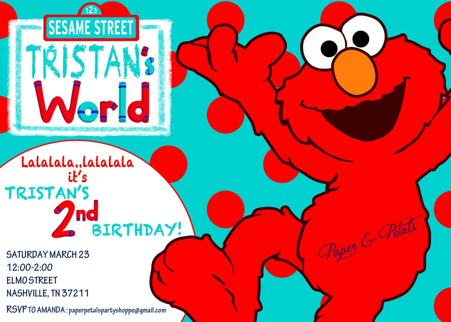 Elmo Inspired Birthday Invitation aqua and red teal and red